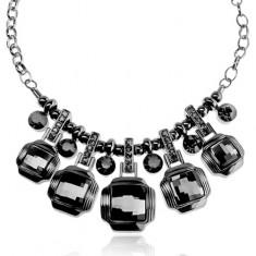 Masívny náhrdelník, tmavosivý odtieň, kovový lesk, brúsené štvorce, zirkóny