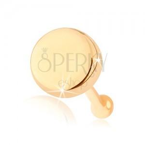 Rovný piercing do nosa zo žltého 14K zlata - plochý lesklý kruh