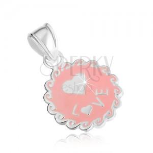 Plochý a okrúhly prívesok zo striebra 925, ružová farba, vlnky, srdce, nápis