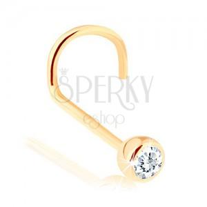 Zlatý piercing do nosa 585 - zahnutý, číry zirkónik v hladkej objímke