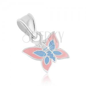 Prívesok zo striebra 925, plochý motýlik, svetloružová a modrá glazúra