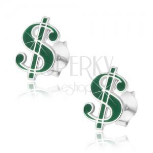 Puzetové strieborné náušnice 925, symbol dolára, tmavozelená glazúra