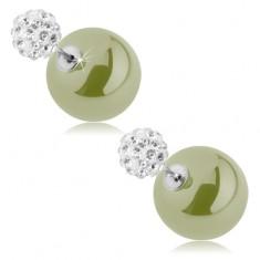fc6b32562 Šperky eshop - Obojstranné náušnice, guličky - zirkónová a hladká,  pistáciovozelená farba O1.