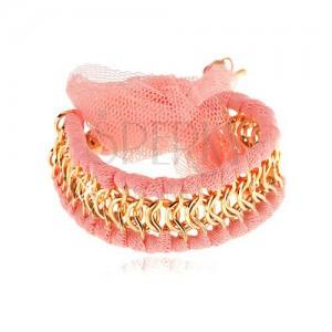 Náramok, prepletené očká zlatej farby, pásiky z ružovej sieťoviny, mašľa