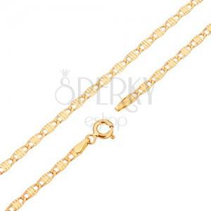 Retiazka v žltom 14K zlate - podlhovasté články zdobené zárezmi, 450 mm