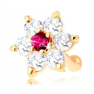 Zlatý piercing do nosa 585, rovný - ligotavý kvet z rubínu a zirkónov