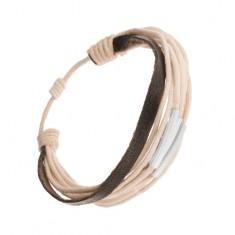 Šperky eshop - Nastaviteľný šnúrkový náramok, béžová a čierna farba, články z ocele Q20.10
