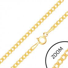Retiazka v žltom 14K zlate - oválne články s gravírovanými bodkami, 500 mm