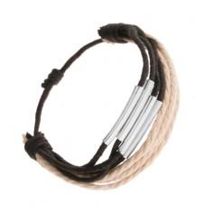 Šperky eshop - Náramok z motúzikov čiernej a béžovej farby, lesklé valčeky z ocele O1.3