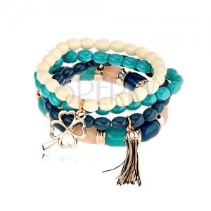 Elastický multináramok, korálky v odtieňoch modrej a béžovej farby, prívesky