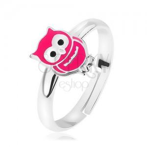 Strieborný prsteň 925, rozťahovací, lesklá ružová sovička, precízne detaily