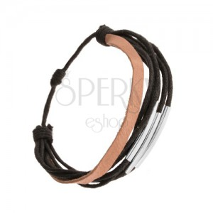 Čierno-hnedý náramok z kože a šnúrok, lesklé pohyblivé rúrky z ocele