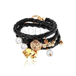 Pletený náramok, čierna farba, prívesky - korálky, číre zirkóny, slon, minca