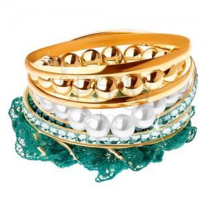 Multináramok, korálky, tyrkysová čipka, obruče zlatej farby