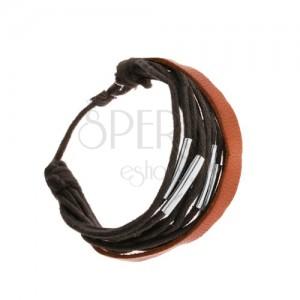 Nastaviteľný náramok, čierne šnúrky, oceľové rúrky, kožený pásik