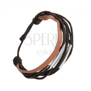Šnúrkový náramok, nastaviteľná dĺžka, čierna a hnedá farba, oceľové rúrky
