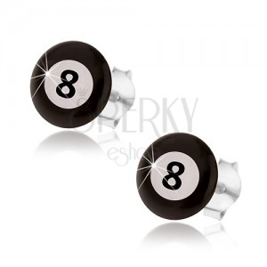 Náušnice, striebro 925, magická biliardová guľa - čierna a biela farba, číslo 8