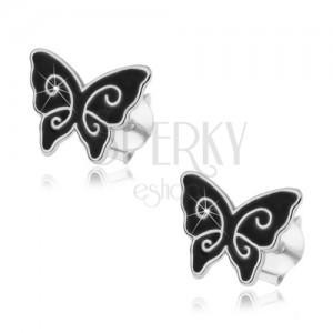 Strieborné náušnice 925, čierny glazúrovaný motýlik, lesklé špirály, puzetky