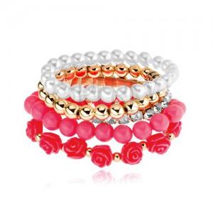 Multináramok - korálky zlatej, bielej a ružovej farby, koralové ruže, číre zirkóny