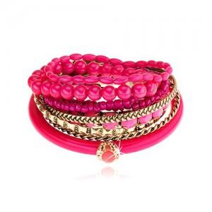 Multináramok - zlatý a fuksiový odtieň, rôzne korálky, ružový zirkón