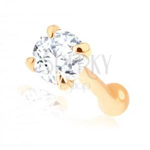 Rovný piercing do nosa v žltom 14K zlate - číry brúsený zirkónik