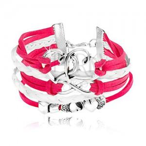 Šnúrkový náramok, cyklámenová a biela farba, srdiečka, symbol INFINITY