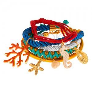 Multináramok, farebné šnúrky a obruč, prívesky - korál, mušle, morský koník