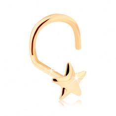 Zlatý piercing do nosa 585 - lesklá päťcípa hviezdička