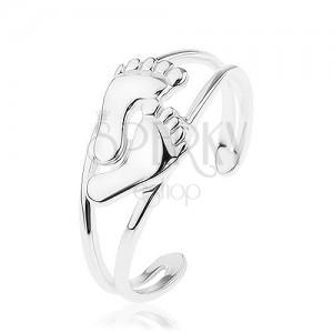 Strieborný 925 prsteň, rozťahovací, rozdvojené ramená, malé leské nôžky