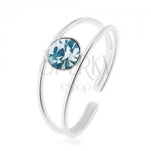 Nastaviteľný prsteň zo striebra 925, rozdelené ramená, modrý zirkón