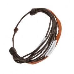 Šperky eshop - Šnúrkový náramok, tmavohnedá a škoricová farba, články z ocele Q20.14