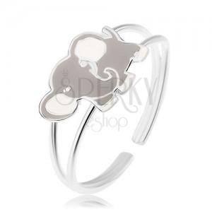 Lesklý prsteň, striebro 925, roztomilý sloník pokrytý sivou a bielou glazúrou