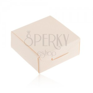 Papierová krabička na darček - prsteň, prívesok alebo náušnice, krémová farba