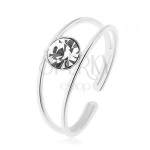 Strieborný prsteň 925, nastaviteľný, rozdvojené ramená, okrúhly číry zirkón