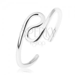 Strieborný prsteň 925, dve zatočené slučky, zrkadlový lesk, rozťahovací