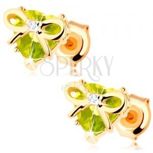 Náušnice v žltom 9K zlate - srdce zo zeleného olivínu zdobené tenkou mašličkou