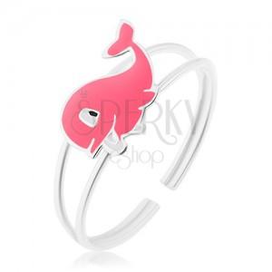 Prsteň zo striebra 925, rozdvojené ramená, veselá ružová veľryba s glazúrou