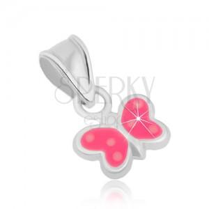 Strieborný prívesok 925, motýlik - lesklé kontúry, ružová glazúra, bodky