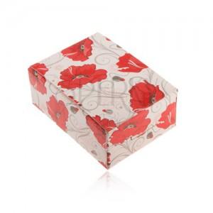 Darčeková krabička na prsteň a náušnice alebo retiazku, červené kvety
