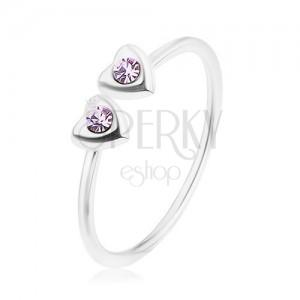 Strieborný 925 prsteň, nastaviteľný, dve srdiečka s fialovými zirkónmi