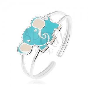 Strieborný prsteň 925, malý roztomilý sloník, modrá a biela glazúra