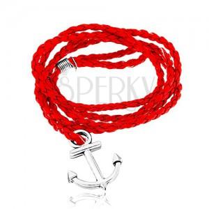 Pletený náramok, červená farba, lesklá kotva v striebornom odtieni