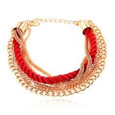 Šperky eshop - Náramok, pletená červená šnúrka, retiazky zlatej farby, karabínka O3.10