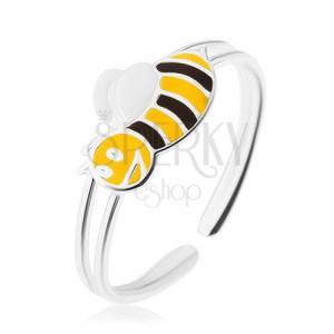 Strieborný 925 prsteň, usmievavá včelička, úzke dvojité ramená