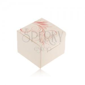 Krémová krabička na prsteň, náušnice alebo prívesok, červené srdcové ornamenty
