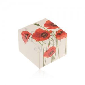 Papierová krabička na darček - prsteň, prívesok alebo náušnice, motív vlčích makov