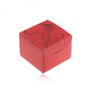 Červená darčeková krabička na prsteň, náušnice alebo prívesok, čierne ornamenty