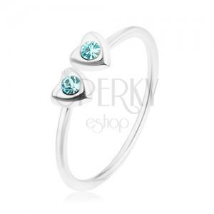Strieborný 925 prsteň, nastaviteľný, dve srdiečka s modrými zirkónmi