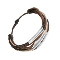 Šperky eshop - Šnúrkový náramok, odtiene hnedej, béžovej a čiernej farby, oceľové články Q14.3