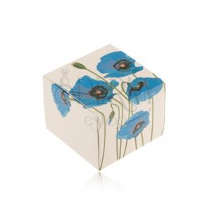 Krabička na prsteň, náušnice alebo prívesok, krémový podklad, modré kvety
